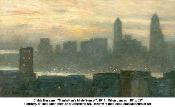 "Childe Hassam ""Manhattan's Misty Sunset"""