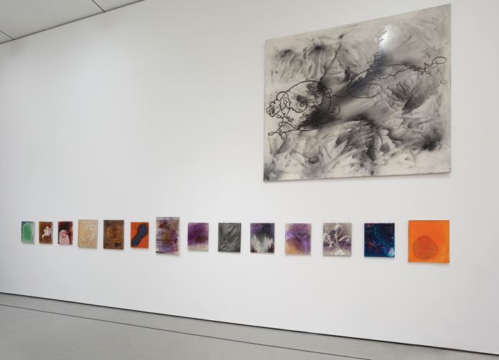 "Installation view of ""Alibis: Sigmar Polke 1963–2010"" at MoMA, which did not use wall texts. COURTESY MOMA"