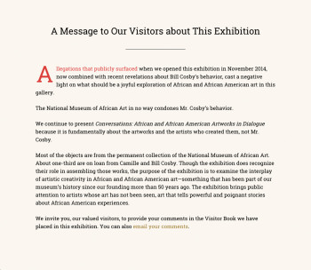 The message posted at the National Museum of African Art in the wake of the Cosby rape allegations. (Click to enlarge.) COURTESY NATIONAL MUSEUM OF AFRICAN ART