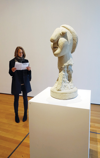 """Picasso Sculpture"" at MoMA features brochures with diagrams denoting caption information. KATHERINE MCMAHON"